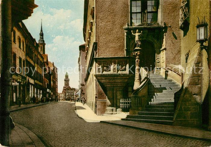 AK / Ansichtskarte Goerlitz Sachsen Historische Rathaustreppe Bruederstrasse Moench Reichenbacher Turm Kat. Goerlitz