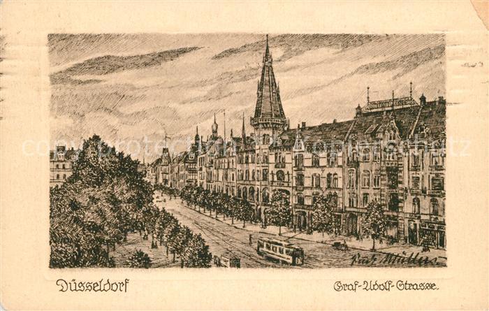 Duesseldorf Graf Adolf Strasse Zeichnung Kuenstlerkarte Kat ...