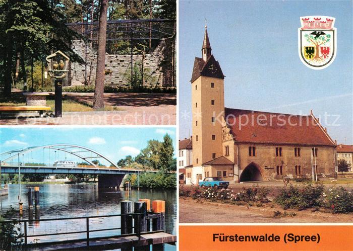 Fuerstenwalde Spree Heimattiergarten Bruecke Thaelmann Pioniere Rathaus  Kat. Fuerstenwalde