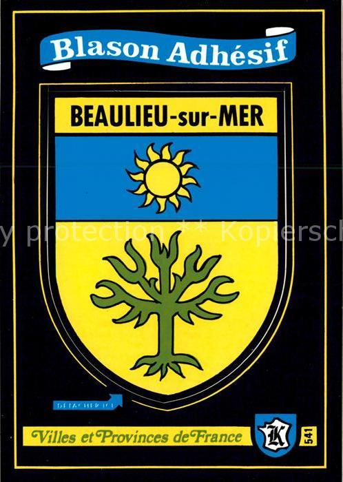 AK / Ansichtskarte Beaulieu sur Mer Villes et Provinces de France Blason Adhesif Kat. Beaulieu sur Mer