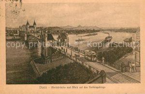 Bonn Rhein Rheinbruecke und Blick auf das Siebengebirge Kat. Bonn