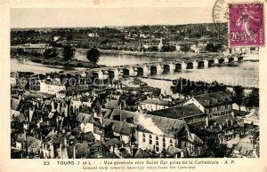Tours Indre et Loire Vue generale vers Saint Cyr prise de la Cathedrale Kat. Tours