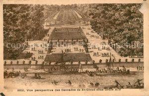Saint Cloud Hauts de Seine Vue perspective des Cascades de St Cloud sous Louis XIV Kat. Saint Cloud