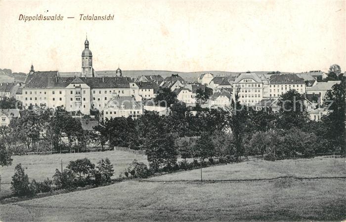 Dippoldiswalde Osterzgebirge Totalansicht mit Kirche Kat. Dippoldiswalde
