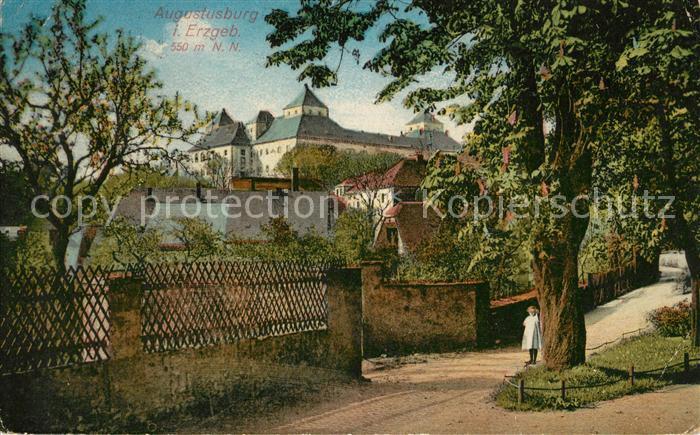 Augustusburg Teilansicht mit Schloss Stadtmauer Kat. Augustusburg