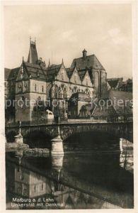 Marburg Lahn Universitaet mit Denkmal Kat. Marburg