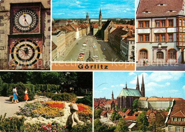 AK / Ansichtskarte Goerlitz Sachsen Rathausuhren Reichenbacher Turm Leninplatz Ratsapotheke Kat. Goerlitz