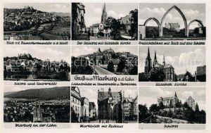AK / Ansichtskarte Marburg Lahn Bismarckpromenade Steinweg Elisabeth Kirche Freilichtbuehne Schloss und Universitaet Lahnbruecke Stadtblick Marktplatz Rathaus Kat. Marburg