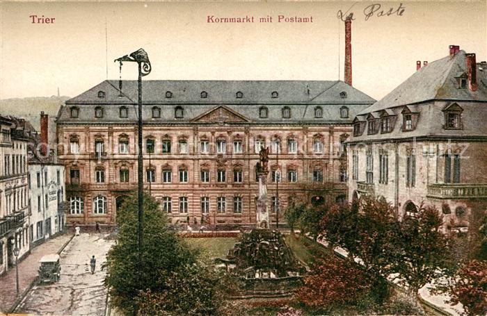 AK / Ansichtskarte Trier Kornmarkt mit Postamt Denkmal Kat. Trier