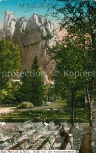 Bad Muenster Stein Ebernburg Blick von der Kurhausterrasse Felsen Kat. Bad Muenster am Stein Ebernburg
