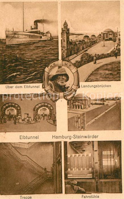 Steinwerder Hamburg Elbtunnel Landungsbruecken Dampfer Rettungsring Kat. Hamburg