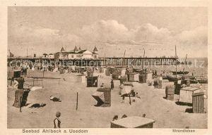 Ahlbeck Ostseebad Strandleben Seebruecke Kat. Heringsdorf Insel Usedom
