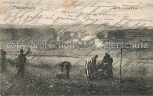 AK / Ansichtskarte Friedrichsfeld Niederrhein Artillerie im Feuer Soldaten Kanone Kat. Voerde (Niederrhein)