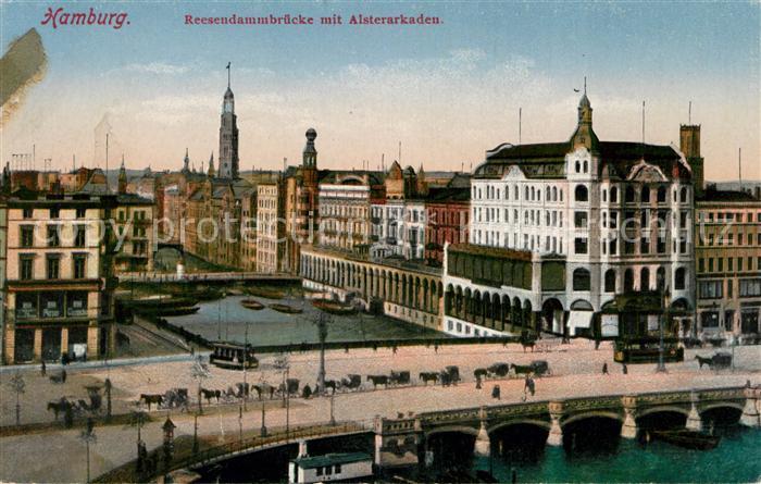 AK / Ansichtskarte Hamburg Reesendammbruecke mit Alsterarkaden Kat. Hamburg