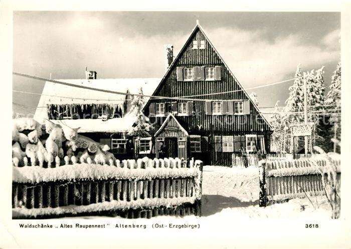 AK / Ansichtskarte Altenberg Erzgebirge Gasthaus Altes Raupennest Winterlandschaft Kat. Geising