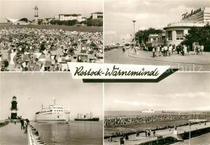 AK / Ansichtskarte Warnemuende Ostseebad Strand Leuchtturm Gaststaette Teepott HO Gaststaette Kurhaus Moleneinfahrt Promenade Kat. Rostock