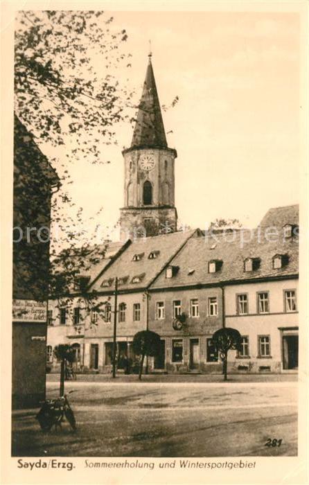 AK / Ansichtskarte Sayda Ortsmotiv mit Kirche Kat. Sayda