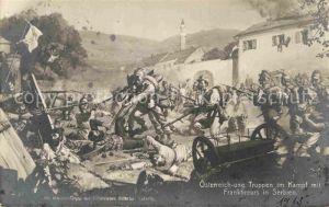 AK / Ansichtskarte Militaria Osten oesterreich ung. Truppen im Kampf mit Franktireurs in Serbien WK1