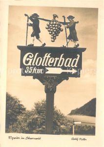 AK / Ansichtskarte Schwarzwald Hinweisschild Glotterbad Kat. Regionales