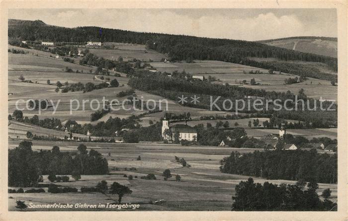 AK / Ansichtskarte Giehren Isergebirge Kirche Panorama Kat. Tschechische Republik