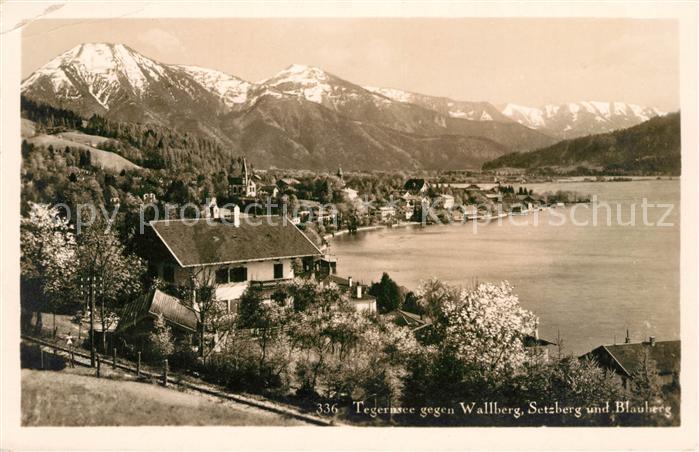 AK / Ansichtskarte Tegernsee Panorama Blick gegen Wallberg Setzberg und Blauberg Mangfallgebirge Kat. Tegernsee