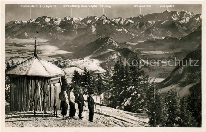 AK / Ansichtskarte Pfronten Dinser Skihuette auf dem Edelsberg Wintersportplatz Alpenpanorama Kat. Pfronten