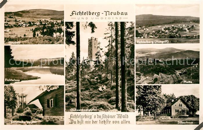 AK / Ansichtskarte Neubau Fichtelberg und Umgebung Fichtelsee Landschaftspanorama Schneeberggipfel Berghaus Ochsenkopfgipfel Aussichtsturm Kat. Fichtelberg