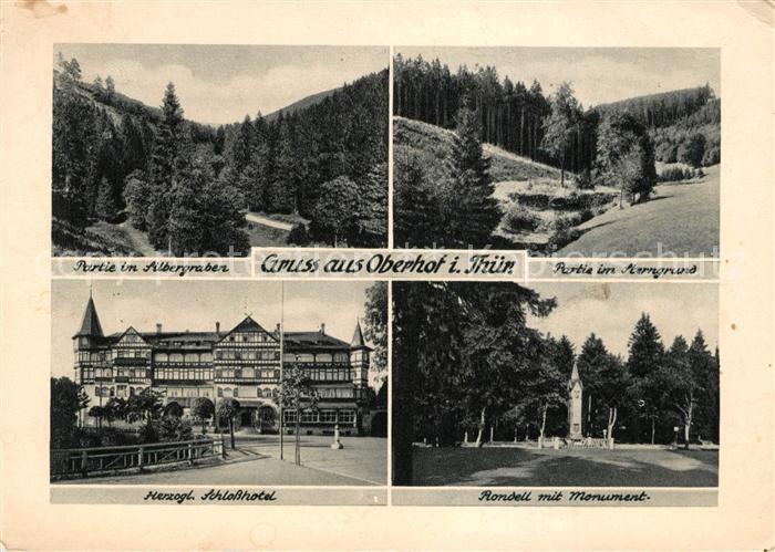 AK / Ansichtskarte Oberhof Thueringen Landschaftspanorama Silbergraben Sterngrund Schlosshotel Rondell Monument Kat. Oberhof Thueringen