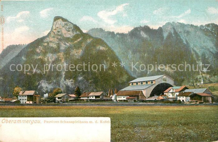 AK / Ansichtskarte Oberammergau Passionsspielhaus mit Kofel Ammergauer Alpen Kat. Oberammergau