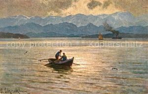 AK / Ansichtskarte Starnbergersee Blick ueber den See zu den Alpen Boot Kuenstlerkarte Kat. Starnberg