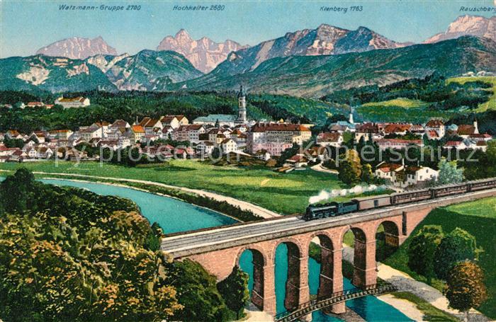 AK / Ansichtskarte Traunstein Oberbayern Gesamtansicht mit Alpenpanorama Eisenbahnbruecke Kat. Traunstein