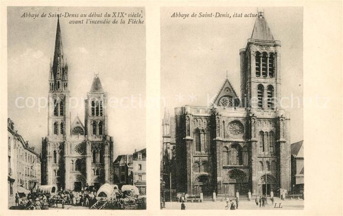 AK / Ansichtskarte Saint Denis Seine Saint Denis Abbaye au debut du XIX siecle et a l etat actuel
