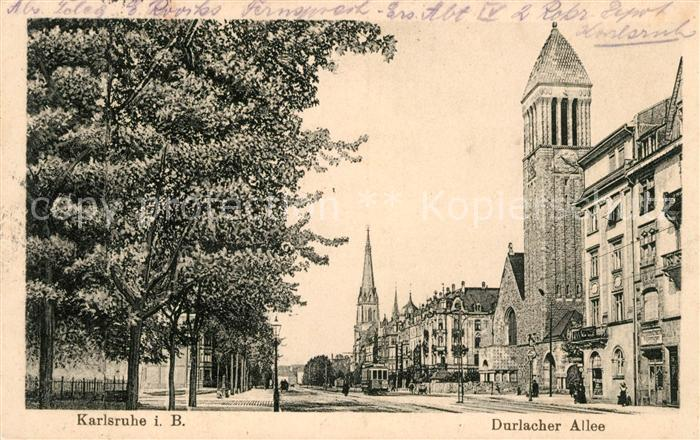 ak karlsruhe durlacher allee mit lutherkirche nr 6270590 oldthing ansichtskarten. Black Bedroom Furniture Sets. Home Design Ideas