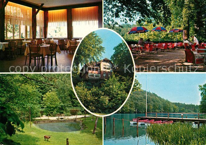 AK / Ansichtskarte Raisdorf Villa Fernsicht Gaststube Gartenwirtschaft Wildgehege Bootssteg Kat. Raisdorf