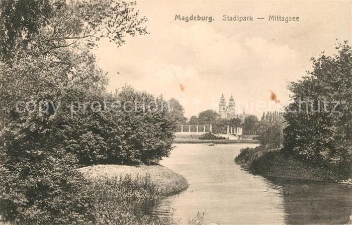 AK / Ansichtskarte Magdeburg Stadtpark Mittagsee Kat. Magdeburg