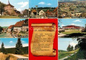 AK / Ansichtskarte St Andreasberg Harz Glockenberg Schuetzenstr Teilansicht Breite Strasse Kurhaus Rehberger Graben Rutschbahn Kat. Sankt Andreasberg