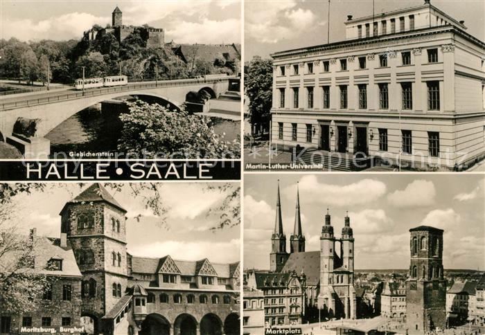 AK / Ansichtskarte Halle Saale Giebichenstein Martin Luther Universitaet Moritzburg Burghof Marktplatz Kat. Halle