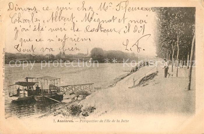 AK / Ansichtskarte Asnieres sur Seine Perspective de l Ile de la Jatte Kat. Asnieres sur Seine
