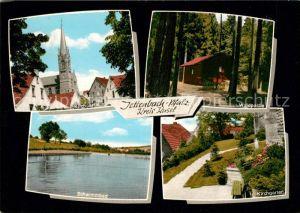 AK / Ansichtskarte Jettenbach Pfalz Kirche Kirchgarten Schwimmbad  Kat. Jettenbach