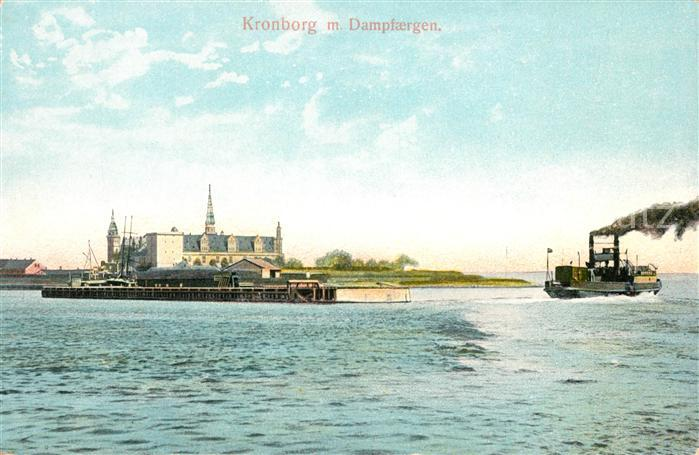 AK / Ansichtskarte Kronborg Slot Dampfaergen Schloss Dampfer Kat. Daenemark