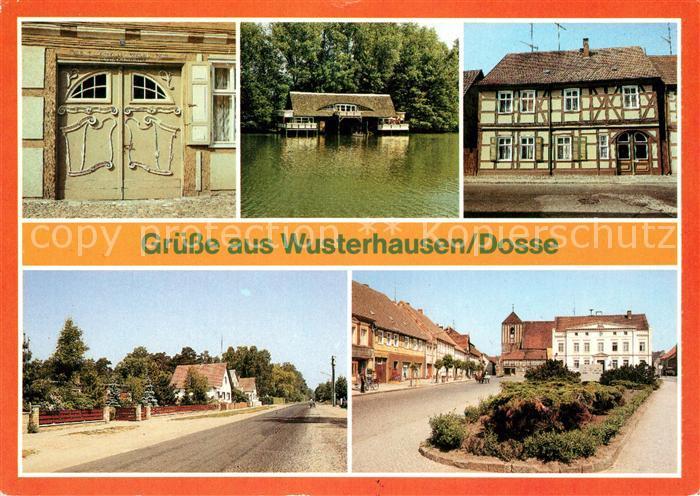 AK / Ansichtskarte Wusterhausen Dosse Rokokotor Karl Liebknecht Strasse Bootshaus Karl Liebknecht Strasse Teilansicht Rathaus Kat. Wusterhausen Dosse