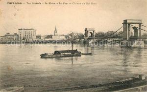 AK / Ansichtskarte Tarascon Bouches du Rhone Vue generale le Rhone Pont et Chateau du Roi Rene