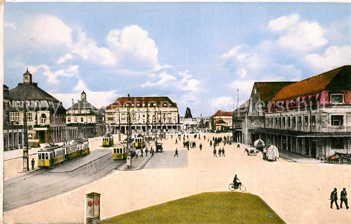AK / Ansichtskarte Strassenbahn Karlsruhe Bahnhofsplatz Kat. Strassenbahn