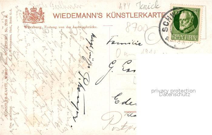 AK / Ansichtskarte Verlag WIRO Wiedemann Nr. 2938 A Wuerzburg Festunf von der Ludwigsbruecke  Kat. Verlage 1