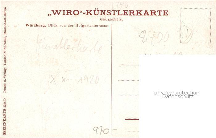 AK / Ansichtskarte Verlag WIRO Wiedemann Nr. 2936 D Wuerzburg Blick von der Hofgartenterrasse  Kat. Verlage 1