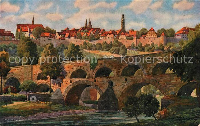 AK / Ansichtskarte Marschall Vinzenz Rothenburg ob der Tauber mit Doppelbruecke  Kat. Kuenstlerkarte 0