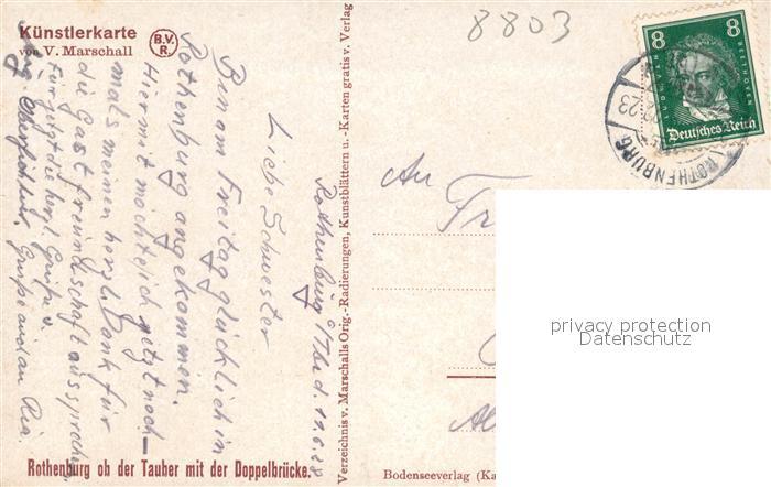 AK / Ansichtskarte Marschall Vinzenz Rothenburg ob der Tauber mit Doppelbruecke  Kat. Kuenstlerkarte 1
