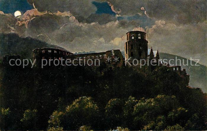 AK / Ansichtskarte Hoffmann Heinrich Schloss Heidelberg bei Nacht  Kat. Kuenstlerkarte