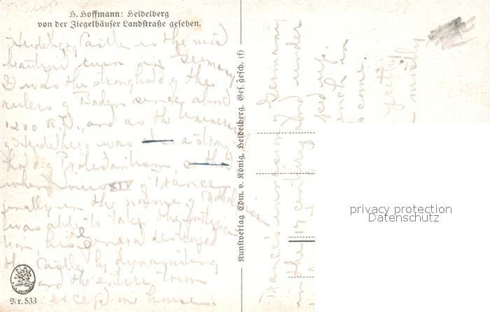 AK / Ansichtskarte Hoffmann Heinrich Heidelberg von der Ziegelhaeuser Landstrasse  Kat. Kuenstlerkarte 1