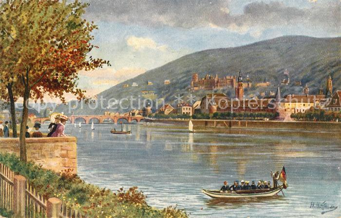 AK / Ansichtskarte Hoffmann Heinrich Heidelberg Blick von der Neuenheimer Landstrasse Schloss  Kat. Kuenstlerkarte